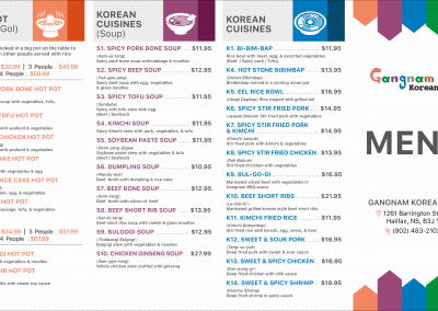 Gangnam Korean Restaurant Menu